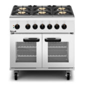 Lincat Phoenix Dual Fuel Natural Gas Free-standing Oven Range - 6-Zone - W 900 mm -  36kW [Gas] - 6kW [Electric]